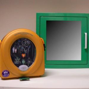Teca per defibrillatori DAE con allarme a batteria