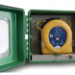 Armadietto impermeabile per defibrillatori DAE con allarme a batteria