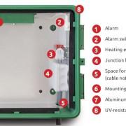Armadietto per defibrillatori DAE con allarme, riscaldamento ed alimentazione a bassa tensione