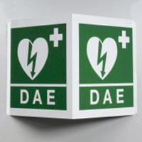 Cartello bifacciale in alluminio per postazioni di defibrillazione DAE