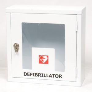 Teca per defibrillatore per utilizzo interno, disponibile anche con allarme a batteria e telecomando